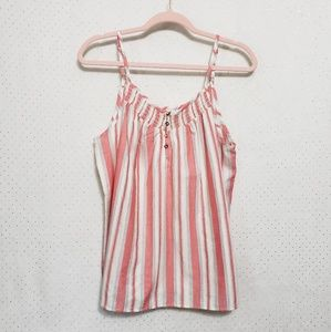 Red & Gray Patterned Stripe Tank*NWT*100% Cotton*B